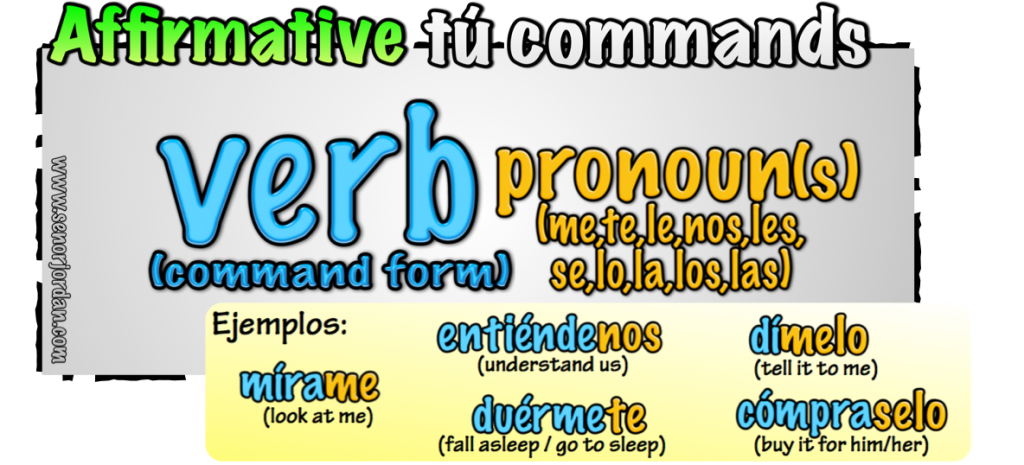 affirmative tu commands + pronouns