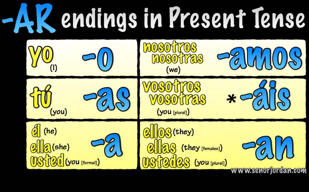 AR verb song endings